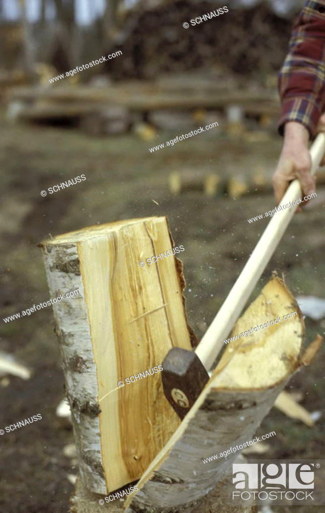 Stock Photo: Axe in a block of wood.