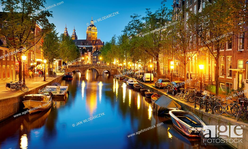 Stock Photo: Amsterdam canal - Holland Netherlands.