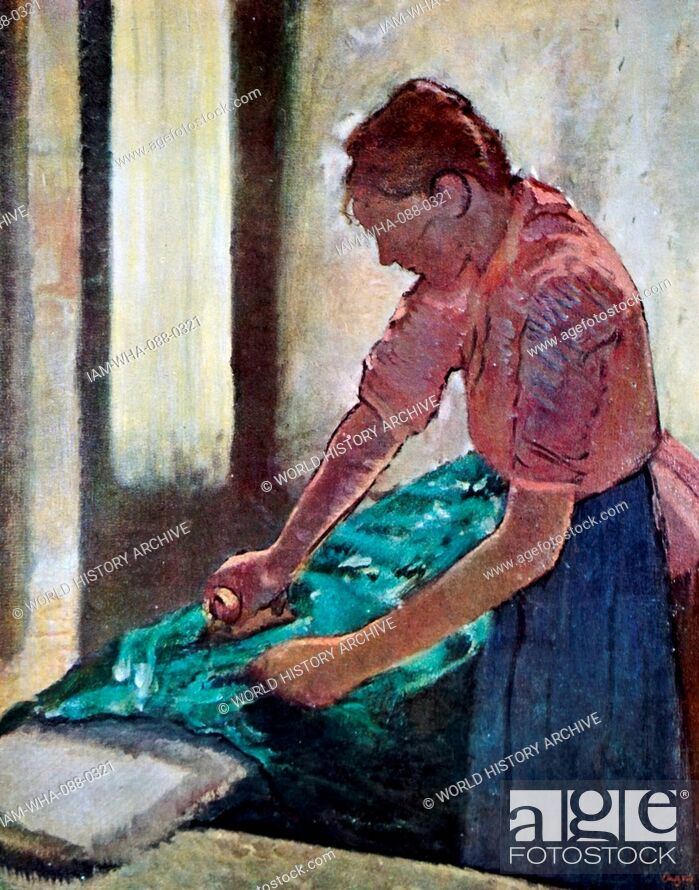 Stock Photo: Painting titled 'Woman Ironing' by Edgar Degas (1834-1917) a French artist and sculptor. Dated 19th Century.