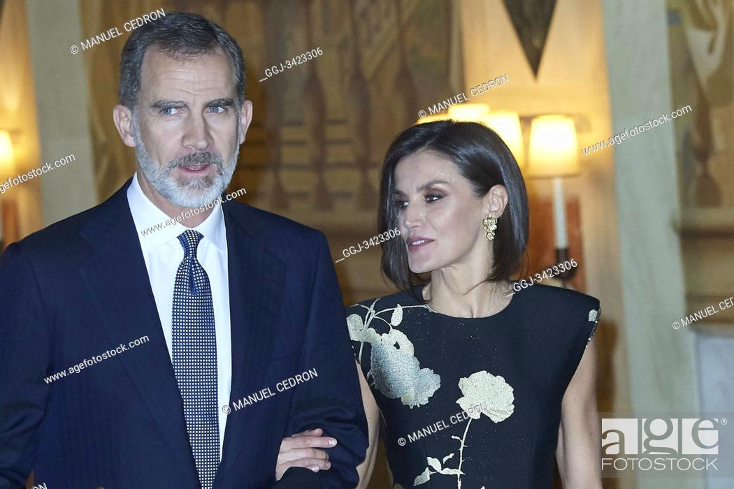 Stock Photo: King Felipe VI of Spain, Queen Letizia of Spain attended the 'Francisco Cerecedo' journalism award to Javier Cercas at Palace Hotel on November 28.