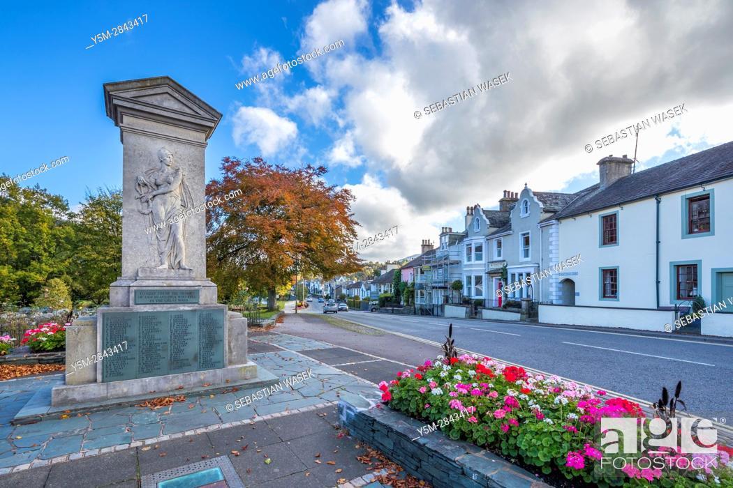 Stock Photo: The Keswick war memorial, County Square, Lake District National Park, Cumbria, England, United Kingdom, Europe.
