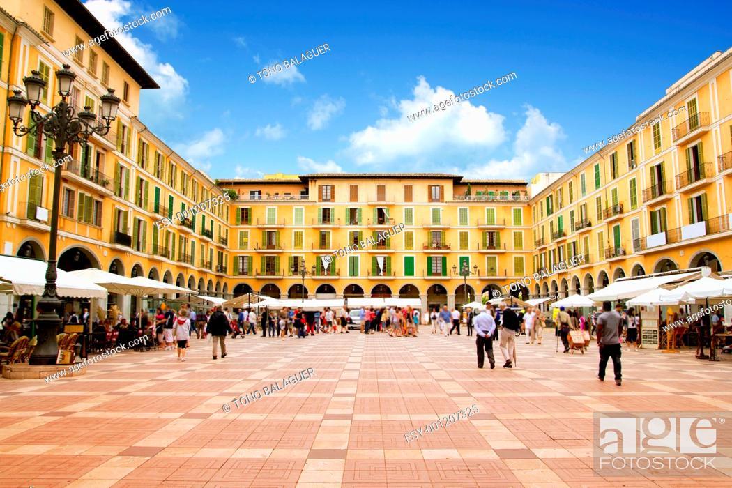 Photo de stock: Majorca Plaza Mayor Major in Palma de Mallorca at old city downtown.