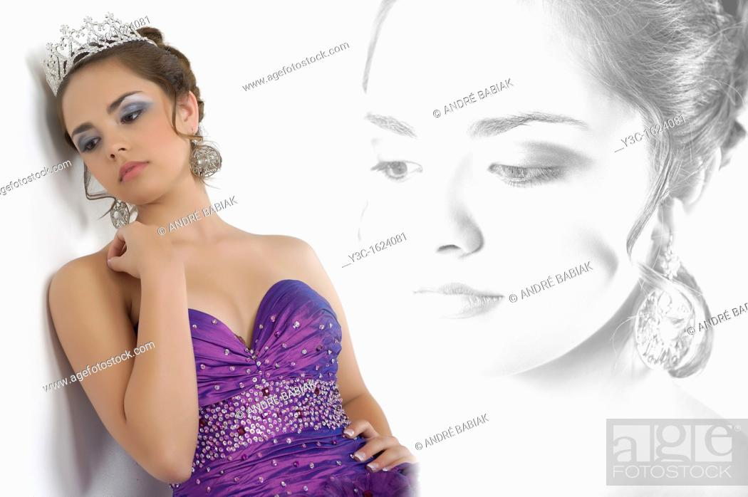 Stock Photo: Portrait collage of young pretty girl looking sad all dressed up at her quinceanera.