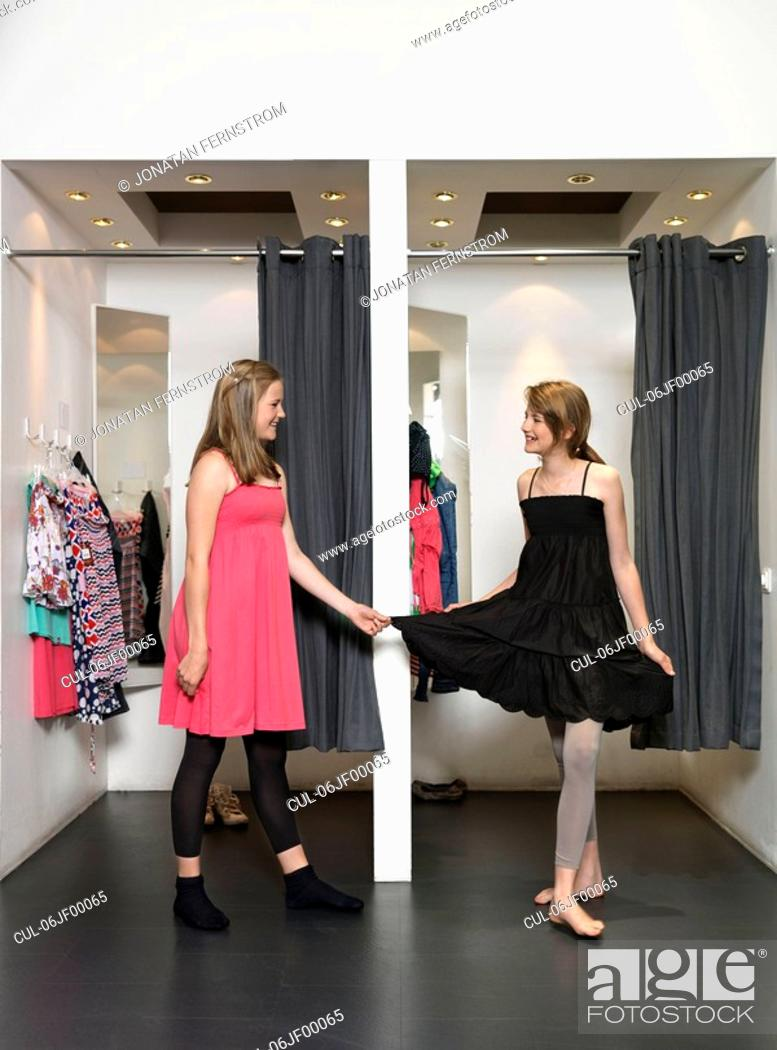 Stock Photo: Two girls in dressing room.