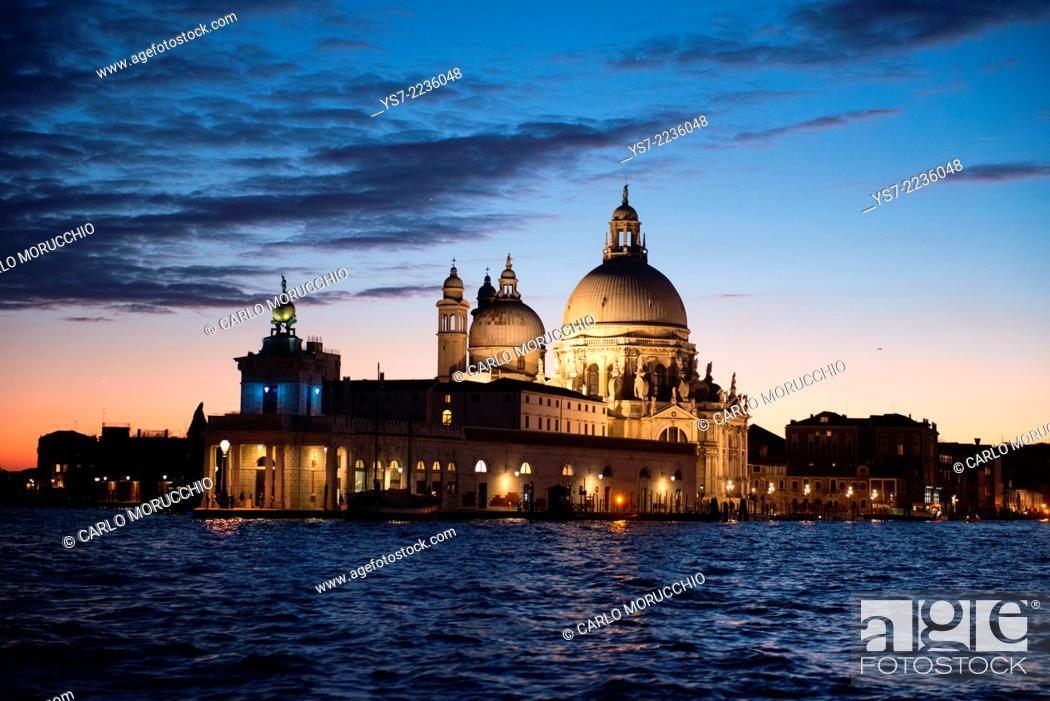 Stock Photo: Santa Maria della Salute church at dusk, Grand Canal, Venice, Italy, Europe.