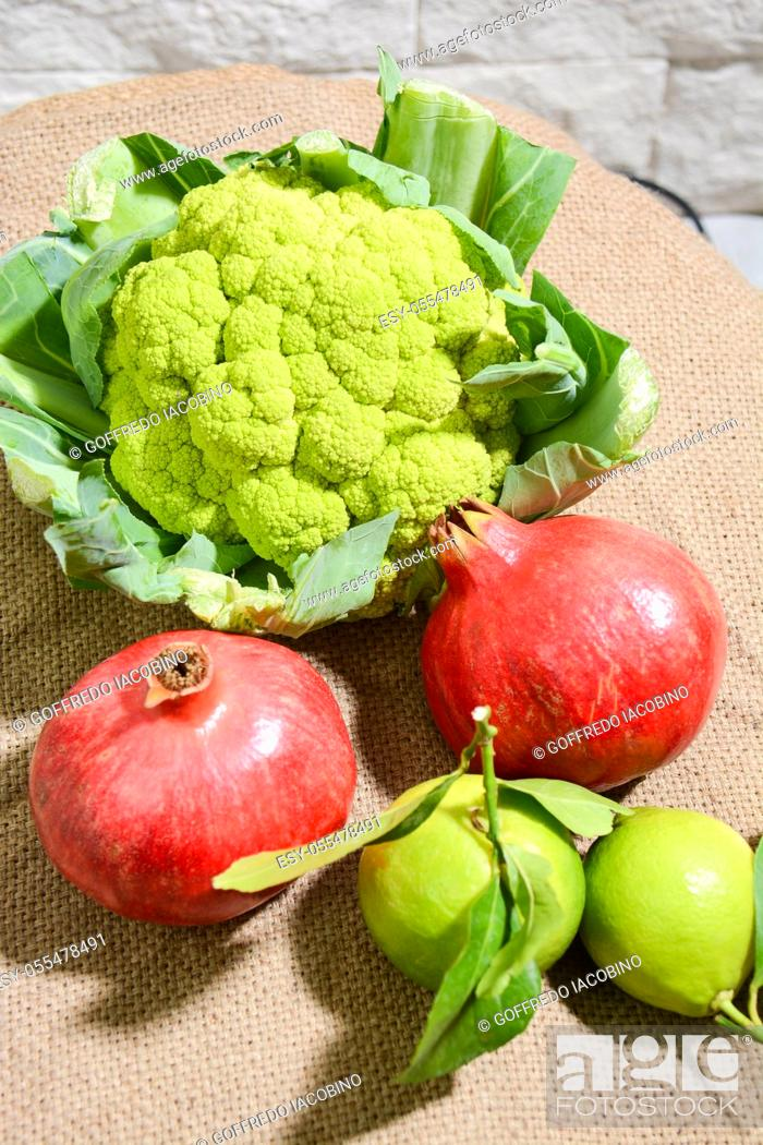 Stock Photo: fresh vegetables and winter fruits just picked in the Italian countryside.
