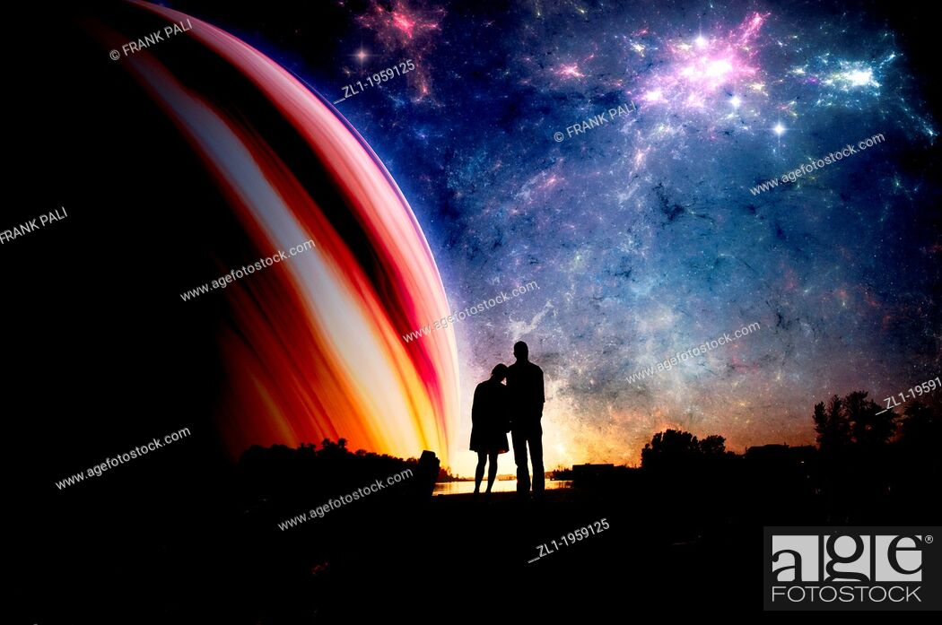 Stock Photo: Couple in sillhouette with space background.