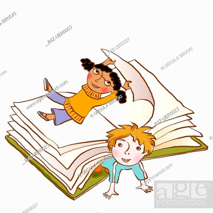 Stock Photo: Two children playing happily in the pages of a large book.