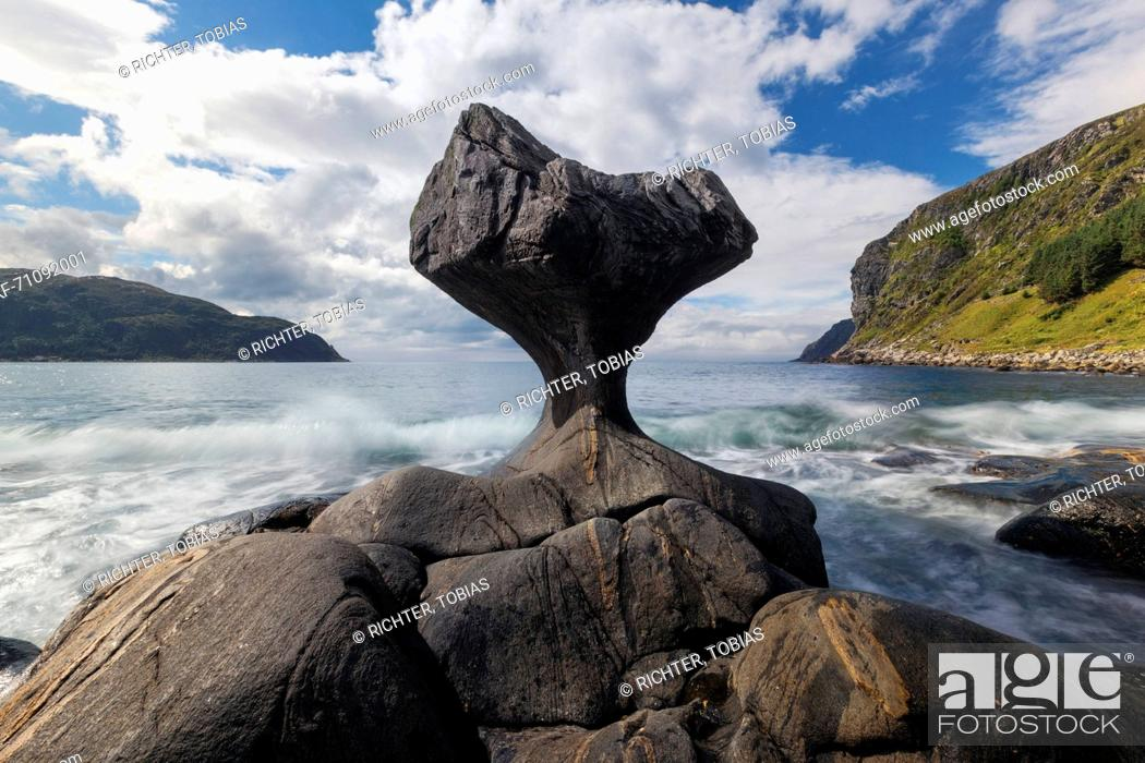 Stock Photo: Distinctive eroded rocks stone Kannestein with surf and sun, Vågsøya, Fylke, Sogn og Fjordane, Norway, Scandinavia.