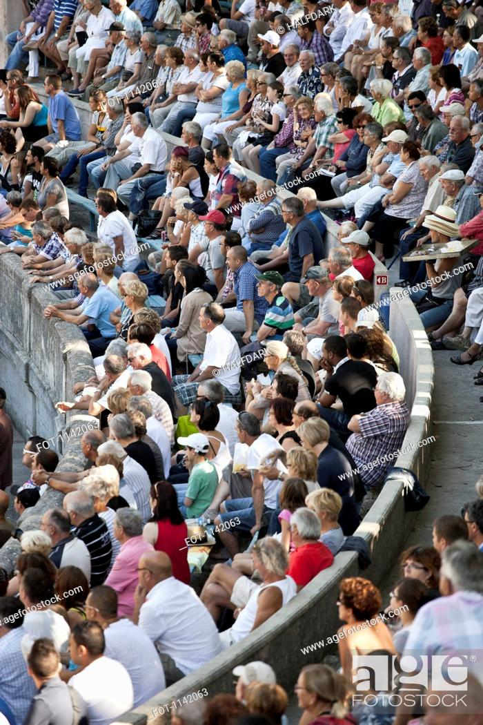 Stock Photo: Detail of a crowd in a sports arena.