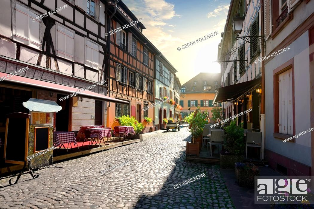 Photo de stock: Cafes on street of Strasbourg in the morning, France.
