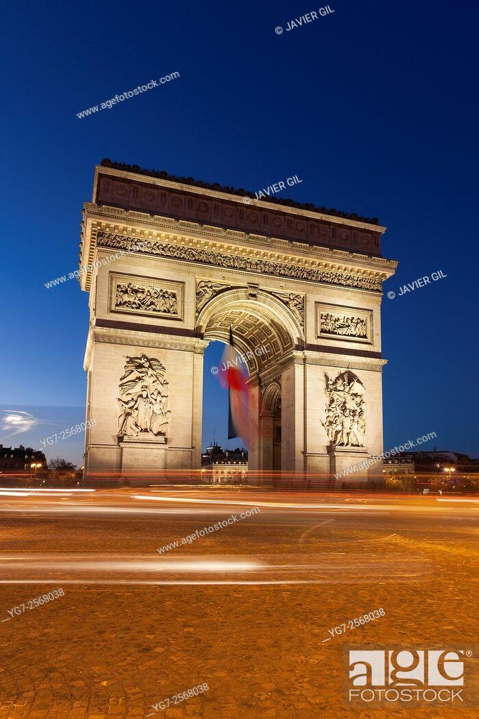 Stock Photo: Arc de Triomphe in the Charles de Gaulle square, Paris, Ile-de-France, France.