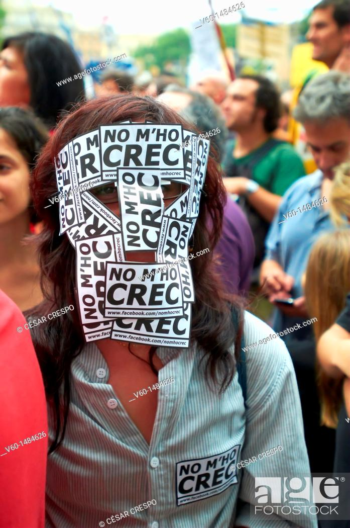 Stock Photo: -I don't Believe yet. Indignants Movement 15M- Barcelona (Spain).