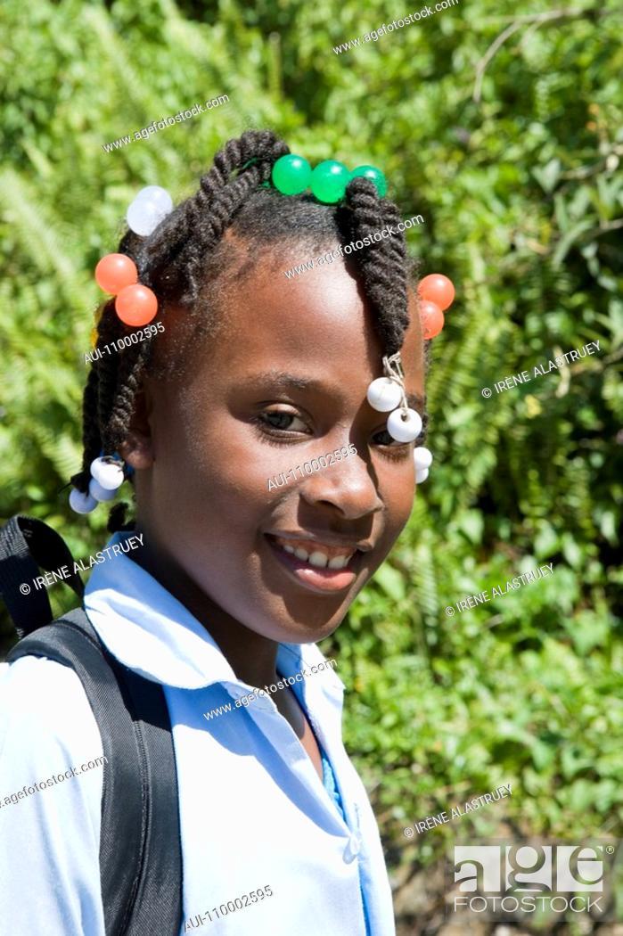 Stock Photo: Dominican Republic - North Coast - Samana Peninsula - Schoolgirl.