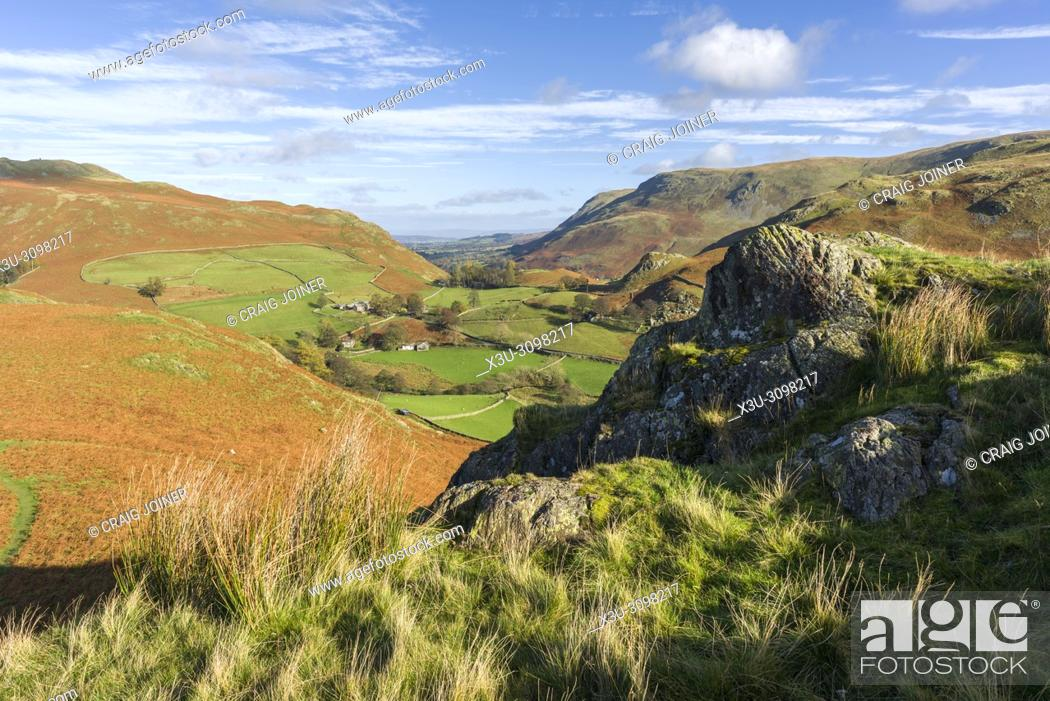 Stock Photo: View over the Martindale valley from the northern end of Beda Fell in the Lake District National Park, Cumbria, England.