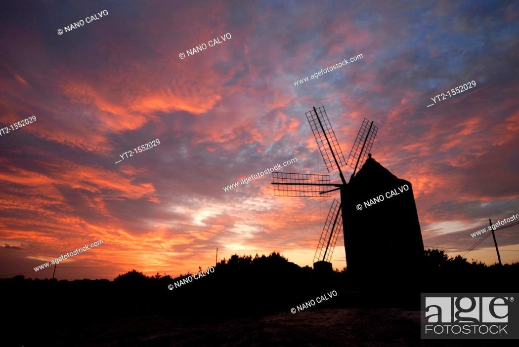 Stock Photo: Old Windmill at sunset, Sant Francesc, Formentera.