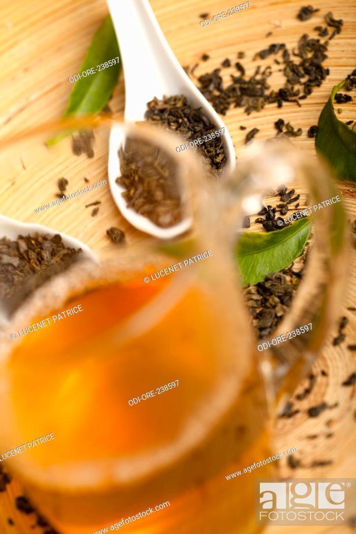 Stock Photo: Green tea cup.