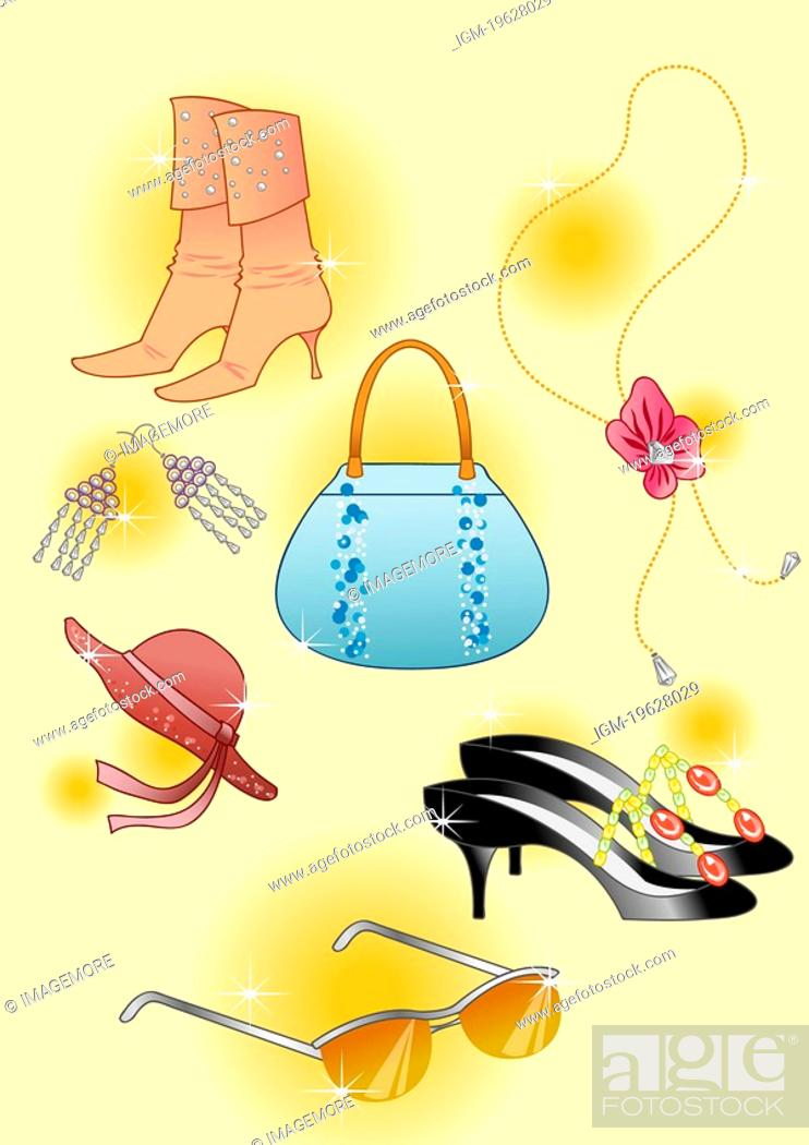 Stock Photo: Boots, purse, high heels, sun glasses and hat.