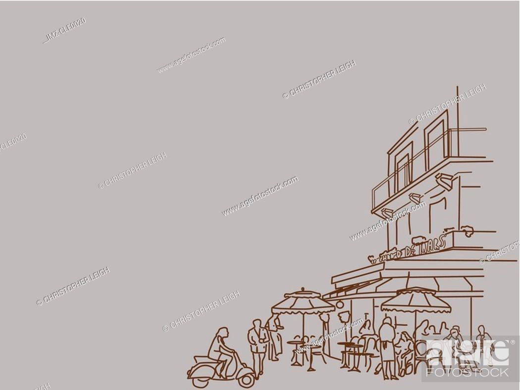 Stock Photo: An illustration of people at a busy restaurant.