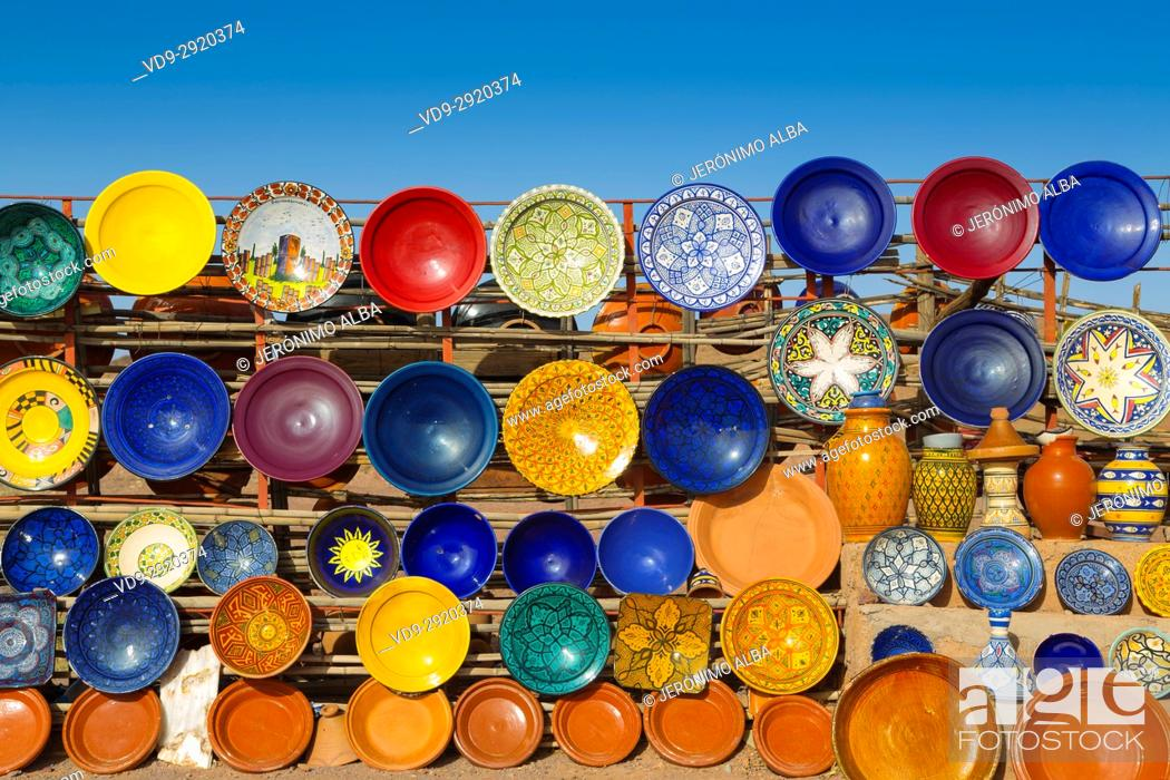 Stock Photo: Pottery in a craft shop, Ouarzazate. Morocco, Maghreb North Africa.