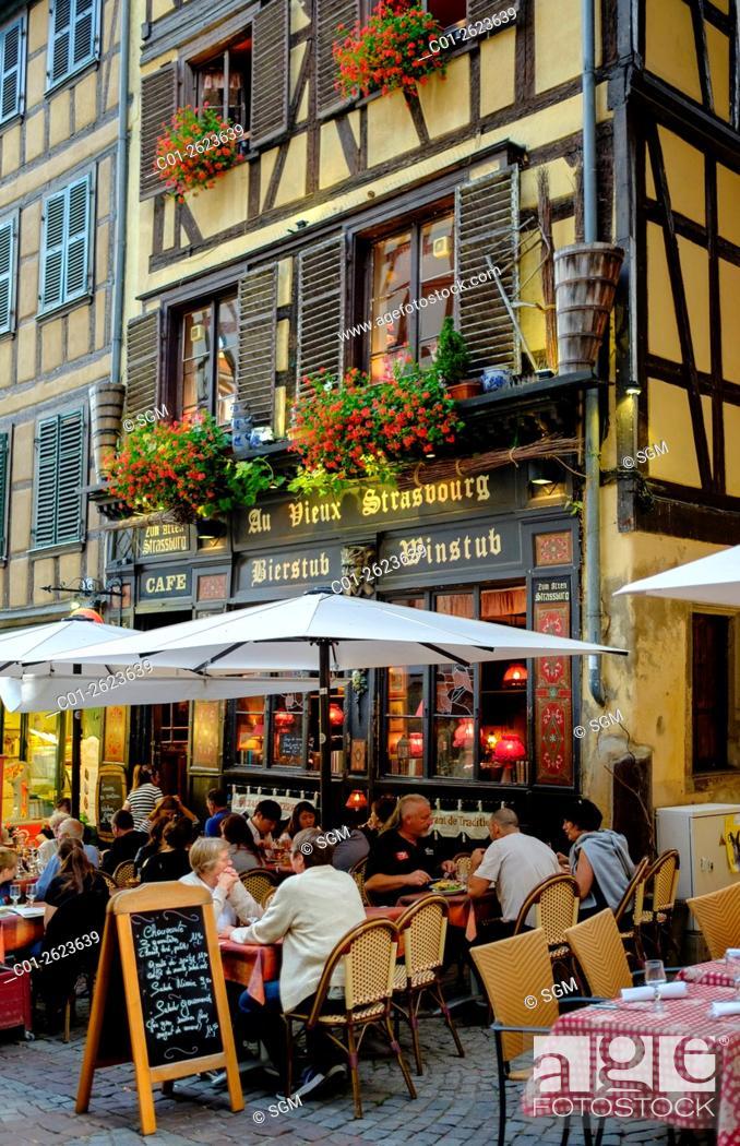 Stock Photo: 'Le Vieux Strasbourg' restaurant street terrace at twilight, Strasbourg, Alsace, France, .