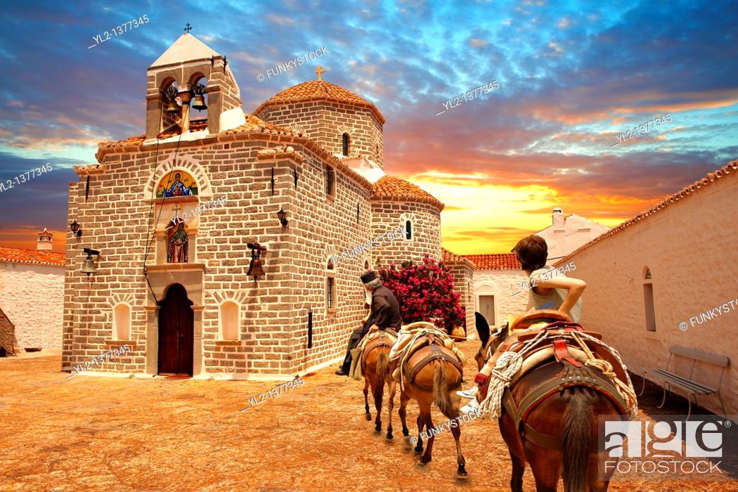 Stock Photo: Greek Orthodox Monastery of the Profitis Ilias, Hydra, Greek Saronic Islands.