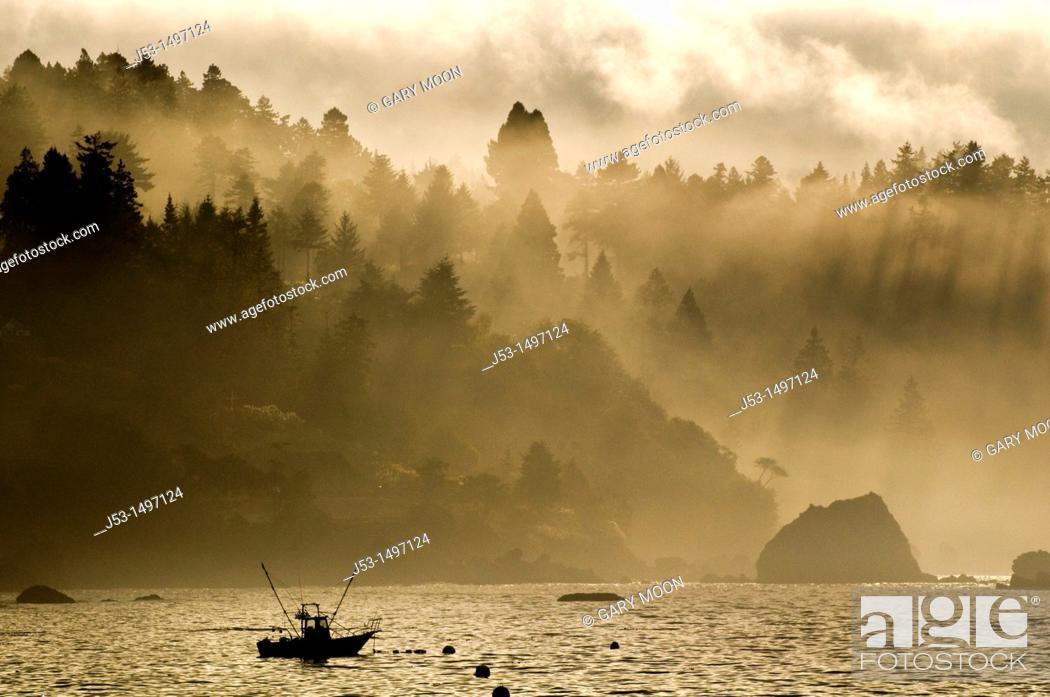 Stock Photo: Fishing boat, foggy morning, Pacific Ocean, Trinidad California USA.