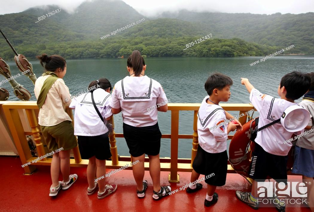 Stock Photo: Hakone Sightseeing Cruise, Lake Ashi, Hakone, Kanagawa, Japan.