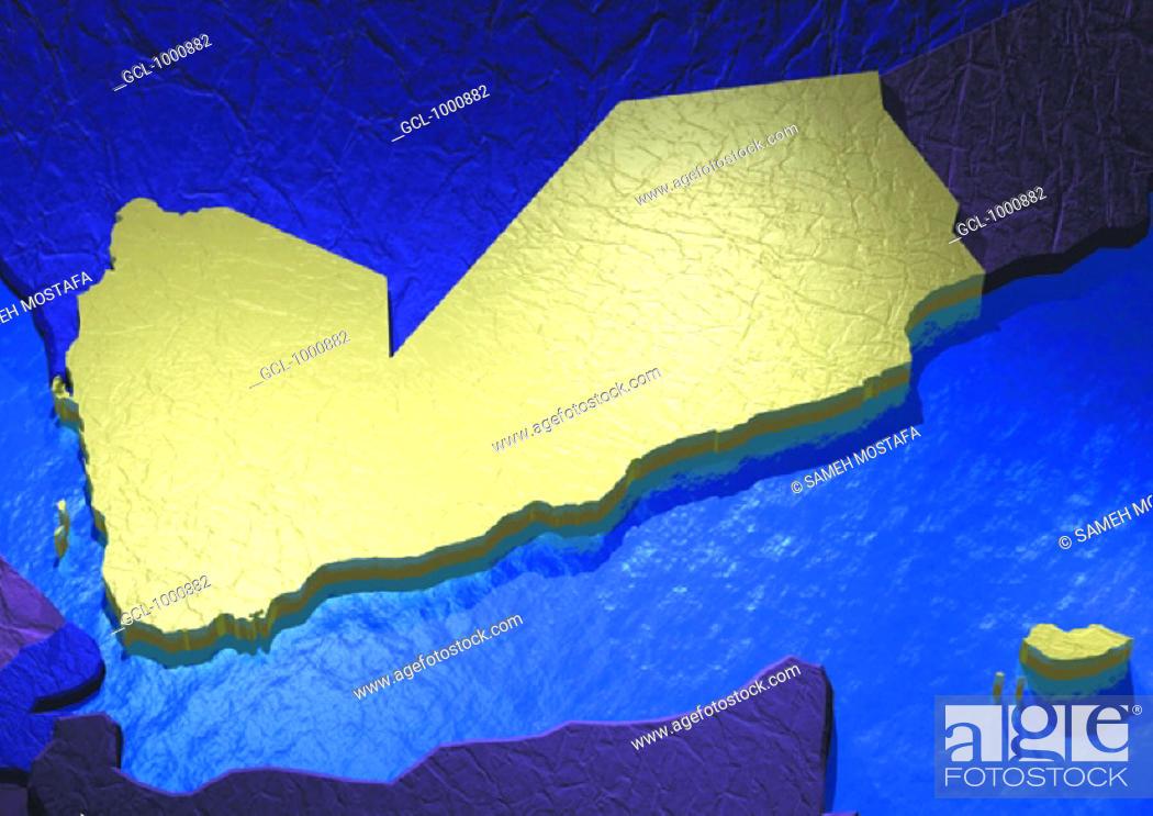 Stock Photo: map of Yemen.