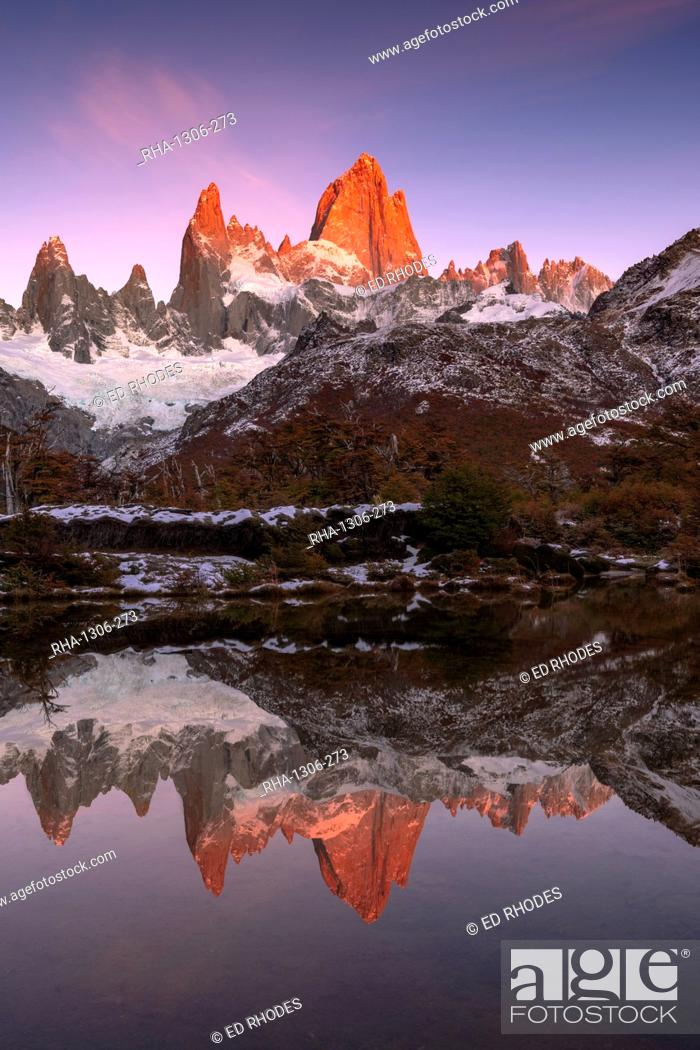 Stock Photo: Mountain range of Cerro Torre and Fitz Roy at sunrise reflected, Los Glaciares National Park, UNESCO World Heritage Site, El Chalten, Patagonia, Argentina.