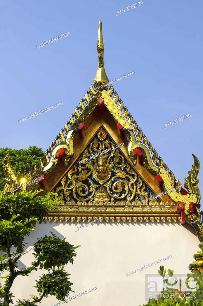 Stock Photo: Wat Pho is a Buddhist temple in Phra Nakhon district, Bangkok, Thailand. It is located in the Rattanakosin district directly adjacent to the Grand Palace.