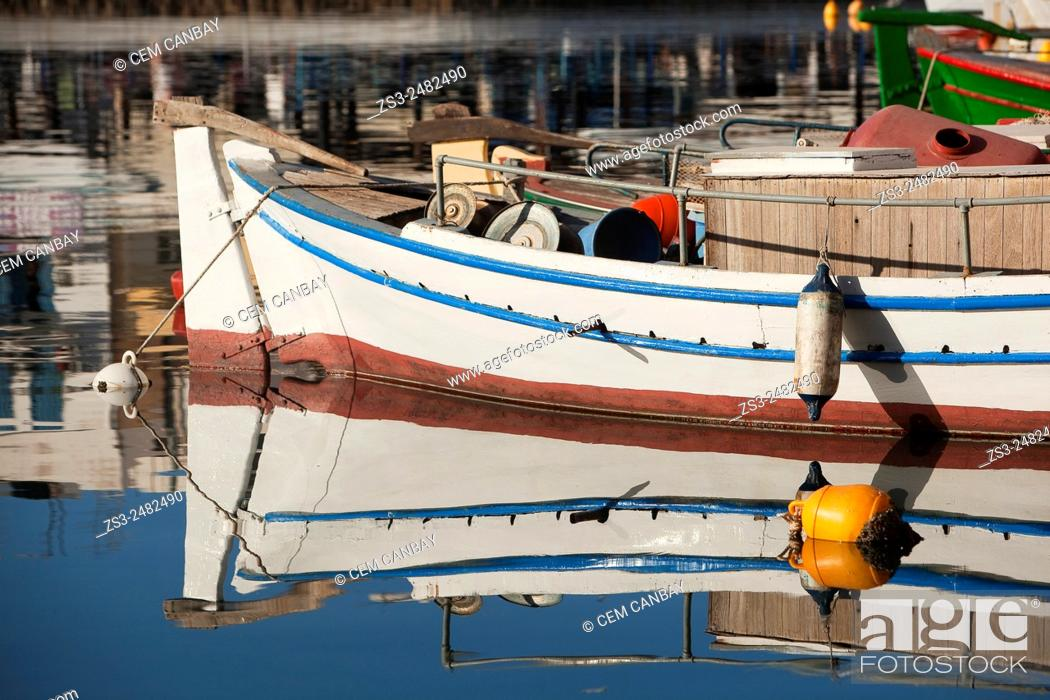 Photo de stock: Fishing boats moored inside the harbour, Agios Nikolaos, Crete, Greek Islands, Greece, Europe.