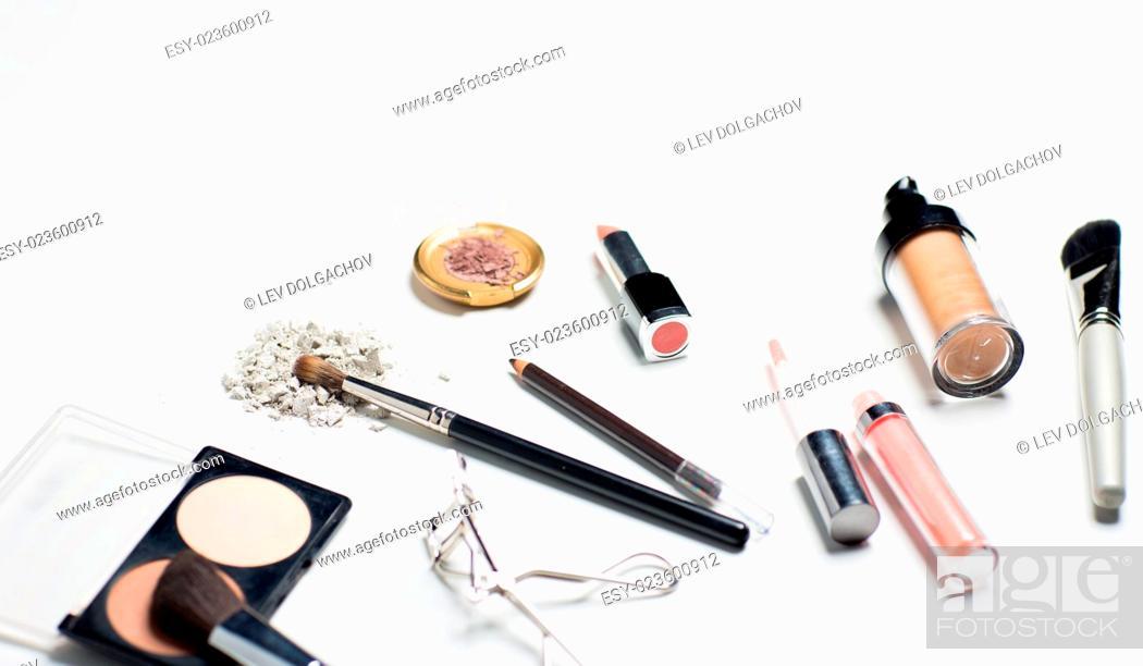 Stock Photo: cosmetics, makeup and beauty concept - close up of makeup stuff.