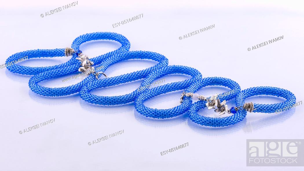 Stock Photo: Handmade designer blue bead necklace of blue color.