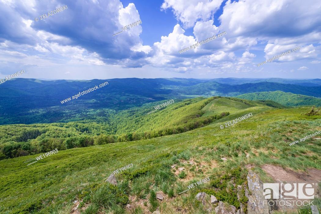 Stock Photo: Aerial view from Wetlina High Mountain Pasture near Smerek Mount in Western Bieszczady Mountains in Poland.