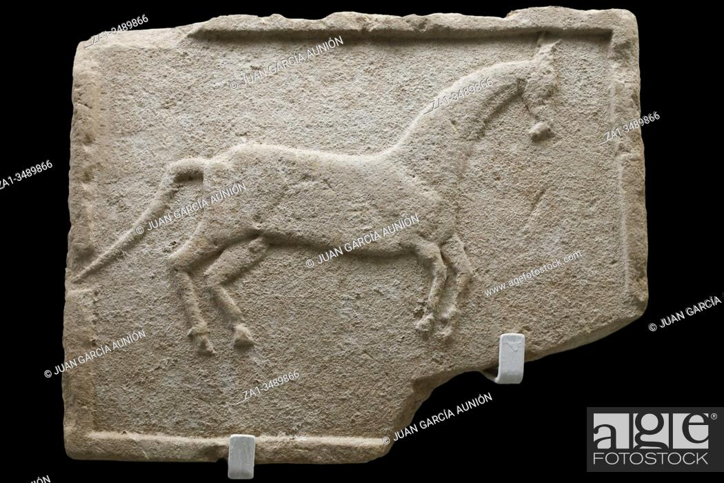 Stock Photo: Seville, Spain - July 7th, 2018: Iberian relief belonging to Horses Sanctuary. Archaeological Museum of Seville, Andalusia, Spain.