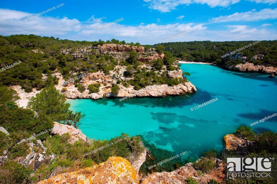 Stock Photo: Cala Macarella Ciudadela Menorca turquoise Mediterranean sea in Balearic islands.