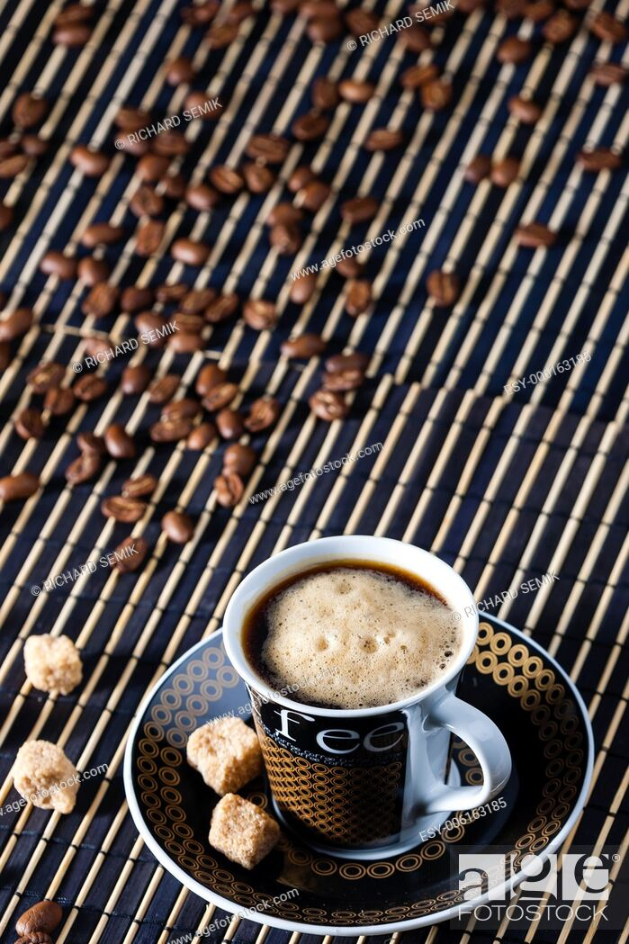 Stock Photo: cup of coffee with sugar.