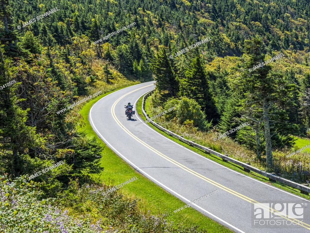 Stock Photo: Mount Mitchell State Park Road leading to top of Mount Mitchell highest mountain in Eastern UNited Staes in the Appalachian Mountains of North Carolina.
