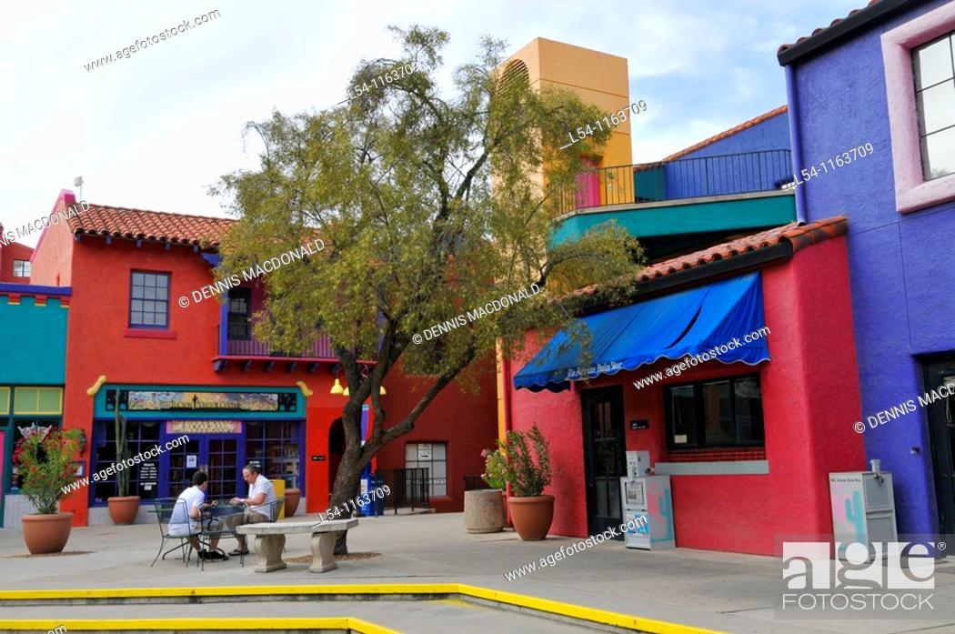 Stock Photo: Colorful Placita Village Downtown Tucson Arizona.