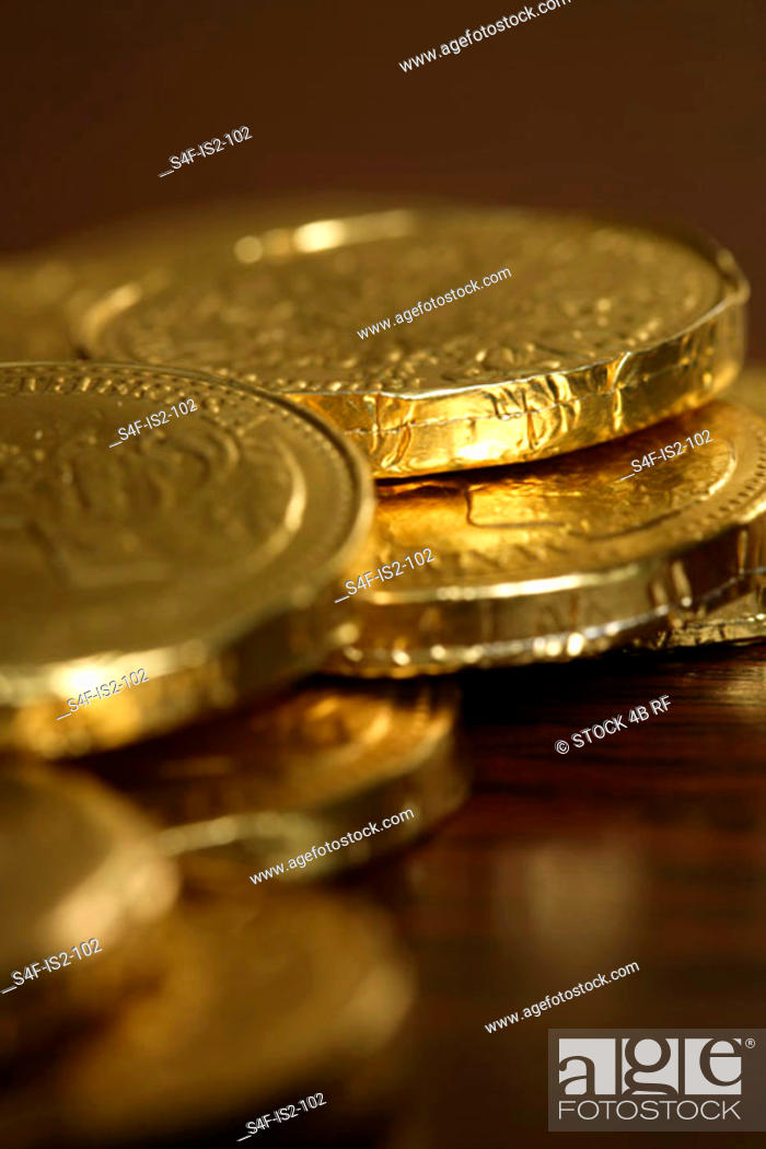 Stock Photo: Chocolate shaped like coins, close-up, selective focus.
