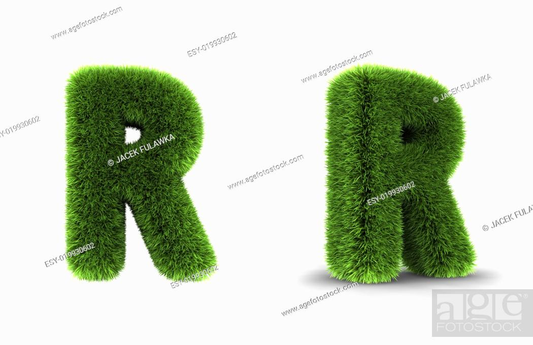 Stock Photo: Grass Letter R.