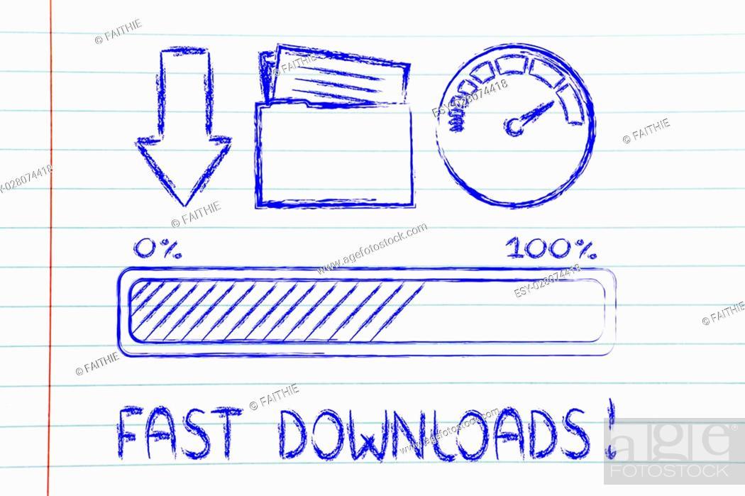 Stock Photo: download transfer speed: speedometer and progress bar.