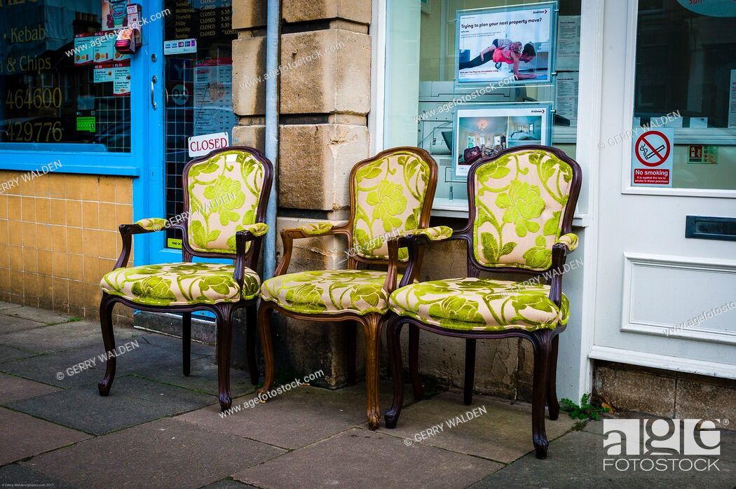 Stock Photo: Ornate upholstered chairs at a street market in Bath, Somerset, England.