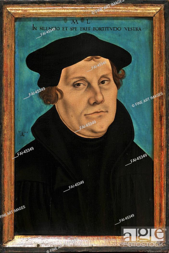 Stock Photo: Martin Luther by Cranach, Lucas, the Elder (1472-1553)/Oil on wood/Renaissance/1529/Germany/Schloss Friedenstein Gotha/Portrait/Painting/Martin Luther von.