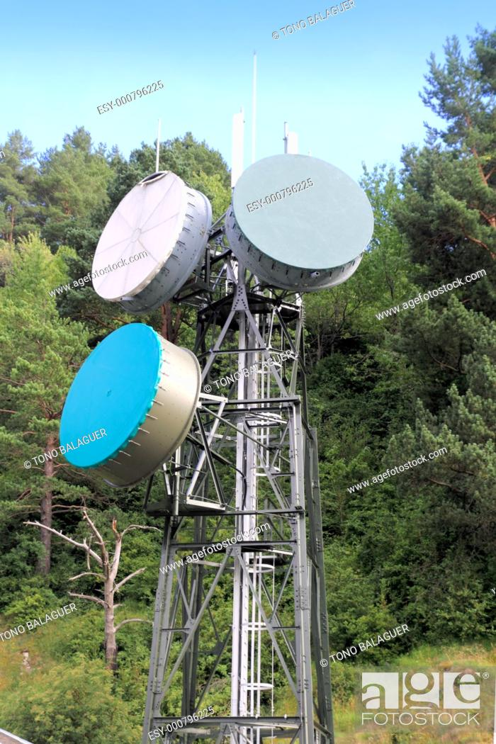 Stock Photo: communication tower antenna in outdoor forest nature.