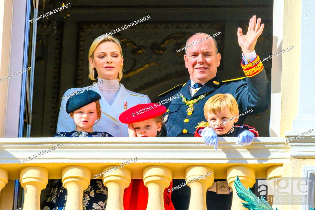 Stock Photo: Prince Albert II of Monaco, Princess Charlene of Monaco with their twin children Prince Jacques and Princess Gabriella of Monaco during the Army Parade.