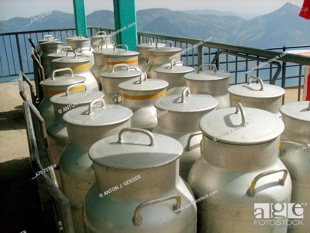 Stock Photo: Milk containers.