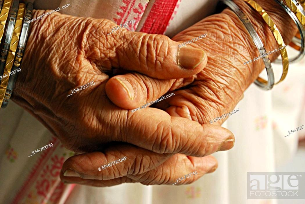 Stock Photo: Hands of an elderly Lady.