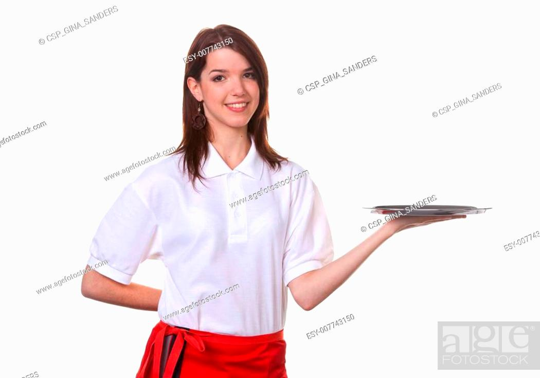 Photo de stock: Young woman serving colorful cocktails Serve as a Young Girl.